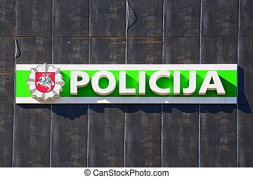 Sign of police on the office house in Pasilaiciai - VILNIUS,...