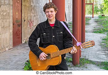 gamberro, con, guitarra,