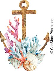 Anchor with corals - Beautiful vector image with nice...