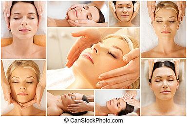 salão, tratamento,  facial,  spa, tendo, mulheres