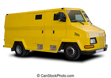 Armored Car - A Big Yellow Armored Car Isolated on White