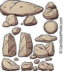 Cartoon boulders Vector clip art illustration with simple...