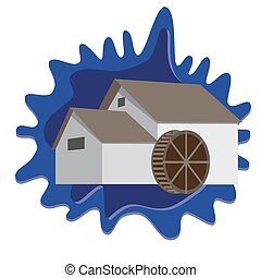 water mill on blue splash background.vector format