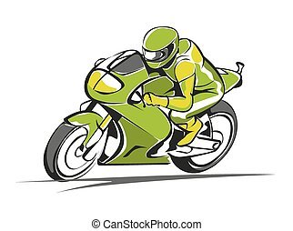 Motor race vector - icon green motorcycle go fast on a...