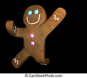 Gingerbread man leaping - Illustration of gingerbread man...