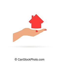 house in hand vector
