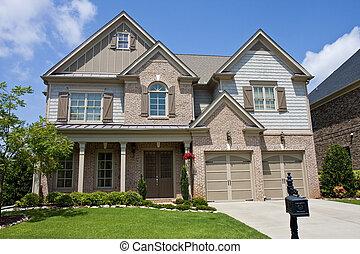 marrone, mattone, casa, mimosa, albero