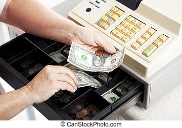 Cash Register Drawer Horizontal - Horizontal view of an open...