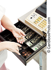 Cash Register Drawer Vertical - Closeup of a cashiers hands...