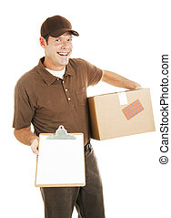 Delivery Man with Clipboard - Happy delivery man holding a...