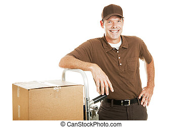 Casual Delivery Guy or Mover - Handsome delivery man leaning...