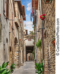 antique alley in Bevagna, Umbria, Italy - picturesque narrow...