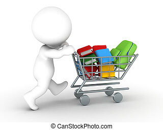 3D Character with shopping cart wit