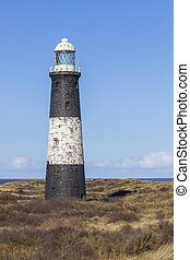 Lighthouse at Spurn Point, East Yorkshire, Great Britain -...