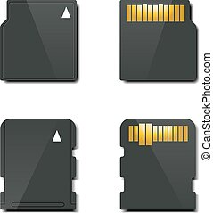 Set memory card, vector illustratio