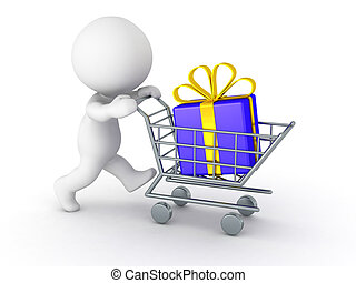 3D Character With Shopping Cart Buy - 3D character pushing a...