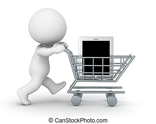 3D Character with Shopping Cart Buy - 3D character with a...