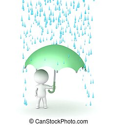 3D Character with Umbrella and Rain - 3D character holding...