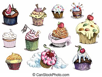 Cupcakes. An hand drawn illustration. Technique: Marker on...