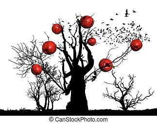 apple-trees - apple trees, vector illustration