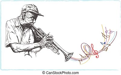 trumpeter jazzman - an hand drawn vector illustration, line...