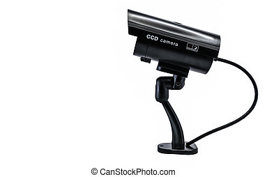 Surveilance CCD camera isolated on white background - Side...