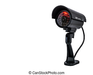 Surveilance CCD camera isolated on white background - Front...