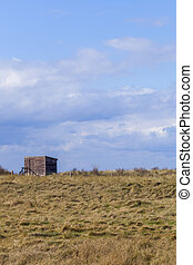 Wooden Bird Watching Hut Spurn Point in natrue reserve,...