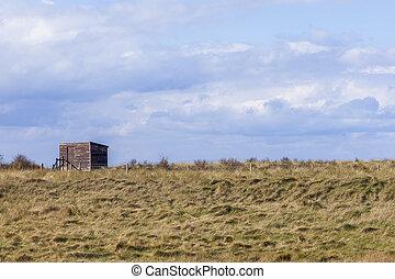 Wooden Bird Watching Hut Spurn Point in natrue reserve,...