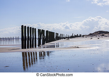 Man made wooden structures Spurn Point UK - Man made wooden...