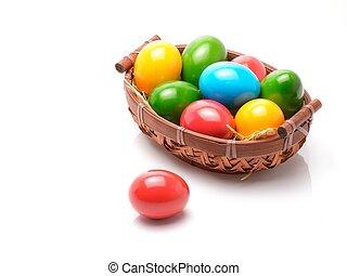 bunte, Eier, Freigestellt, hintergrund, weißes, Ostern, aus