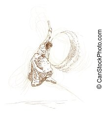 japan drummer - An hand drawn illustration - dancing japan...