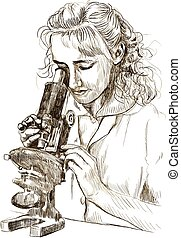 microscope - An hand drawn illustration: Young woman with...