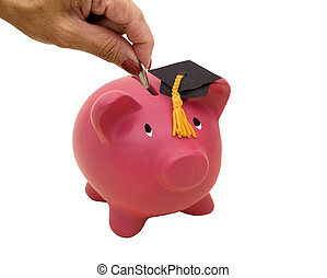 Education Savings - Piggy bank with graduation cap on white...