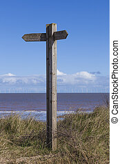Wooden Signpost, public footpath, decision making - Wooden...