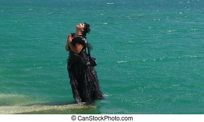 Woman In Black Falling Into Lake