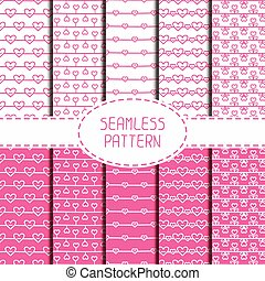 Set of pink romantic seamless pattern with hearts. Collection of wrapping paper. Paper for scrapbook. Vector background. Tiling. Hand drawn doodles. Stylish graphic texture for your design, wallpaper.