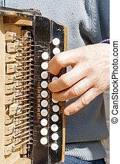 man playing concertina - man playing old grunge concertina...