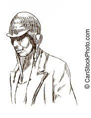 aviator - An hand draw  illustration - (retro) pilot