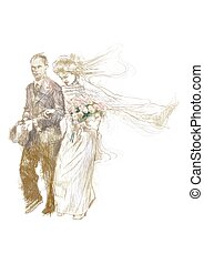 wedding day - An hand drawn colored illustration - wedding...