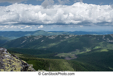 Beautiful summer landscape in the mountains with Cloudy sky.