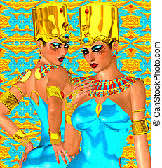 Egyptian women, twins - Upper and Lower Egypt unity,...