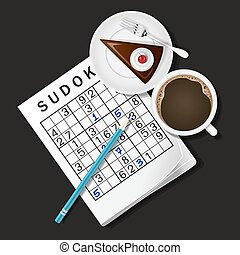 illustration of Sudoku game, mug of coffee and chocolate...