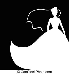 Wedding bride silhouette - Vector illustrations of wedding...