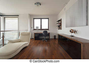 Luxury study at home - Wooden parquet in luxury study at...