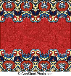 red ethnic stripe ornament on floral background, perfect for...