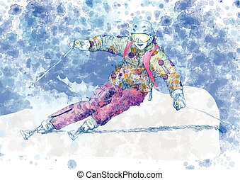 skier - An hand drawn colored illustration - skier
