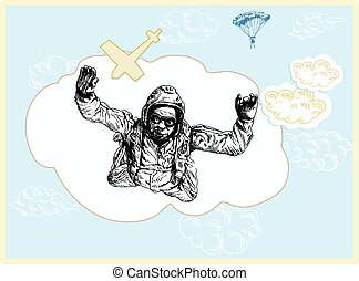 skydiver - an hand drawn vector illustration, line art:...