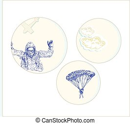 parachutist - an hand drawn vector illustration, line art:...