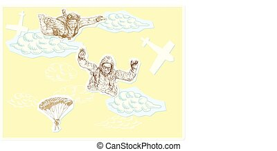 skydivers - An hand drawn vector illustration, a picture -...